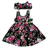 RJXDLT Baby Girls Dresses Flower Printed Skirt Dress 12-18 Months Black