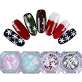 BONNIESTORE 4 Boxes Holographic Nail Sequins Christmas Colorful Snowflake Stripe Pink Unicorn AB Color Nail Decals Glitter Nail Art 3D DIY Decoration