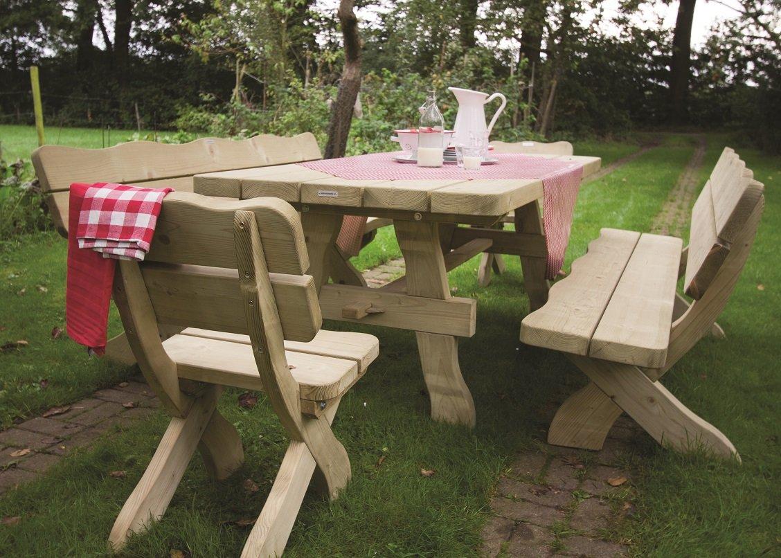 Farm Garnitur 200 cm (zwei Bänke, Tisch und zwei Stühle) Solide Gartenmöbel aus 60 mm starkem Kiefernholz