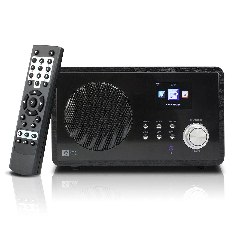 Ocean Digital WiFi Internet Radio WR60 Wlan Wireless Connection Wooden Desktop Media Player Alarm Clock Big Display Black
