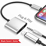 Lightning to 3.5mm Headphone Jack Adapter,iNassen for Iphone 7 Lightning Audio and Charger Adapter Splitter with Charge and Music Aux Headphone Splitter for Iphone 7/7 plus/8/8 plus/X (black) (Color: Jblack)