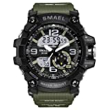 SMAEL Watches for Kids Large Face Sports Double Display Expedition LED Screen Smart Watches Black+Army Green (Color: Black+Army Green)