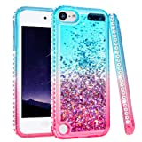 iPod Touch 5 6 7 Case, iPod Touch Case 5th 6th 7th Generation for Girls, Ruky Quicksand Series Glitter Flowing Liquid Floating Bling Diamond Flexible TPU Cute Case for iPod Touch 5 6 7 (Teal Pink) (Color: Teal&Pink)