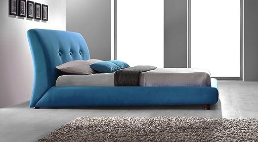 Designer Italian Style Grey Fabric Upholstered 4ft6 Double Modern Design Bed Frame