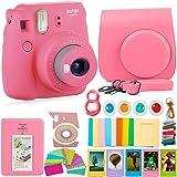 FujiFilm Instax Mini 9 Camera and Accessories Bundle - Instant Camera, Carrying Case, Color Filters, Photo Album, Stickers, Selfie Lens + More (Flamingo Pink) (Color: Flamingo Pink)