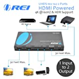 Orei 1x2 2.0 HDMI Splitter with Scaler Audio Extractor 2 Ports with Full Ultra HDCP 2.4K at 60Hz & 3D Supports EDID Control - UHDS-102A (Tamaño: 2 Port)