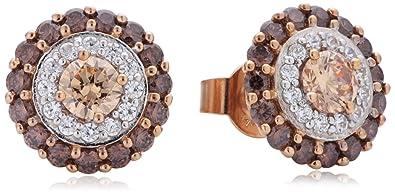 Diamonfire Women's Stud Earrings 925 Sterling Silver Fancy Colours Zirconia Brown 62 / 1553 / 1/100