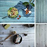 Evanto 23X35 Inch (58X88cm) 2-in-1 Blue and White Wood Background Photo Backdrop Board for Food Photography, Daily Recording, Poster or Magazine Shooting, Products Display (Color: Wood grain)