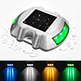 JIGUOOR Driveway Lights Solar LED Deck Lights Dock Lights Step Lights Outdoor Waterproof for Driveway Deck Garden Ground Path Yard (Green, 1 Pack) (Color: Green)