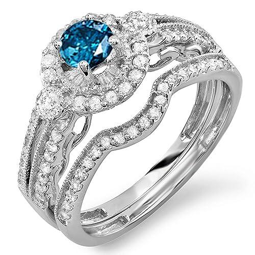 1-00-Carat-ctw-14k-White-Gold-Round-Blue-White-Diamond-Ladies-Halo-Bridal-Engagement-Ring-Set-Matching-Band-0-40-CT-Center-included