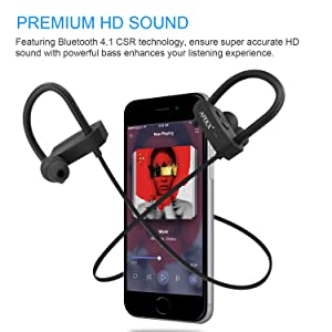 APEKX Bluetooth Headphones, Wireless in-Ear Earbuds, HiFi Stereo Bass Sports Headset, IPX7 Waterproof Earphone for Running (Color: Black)