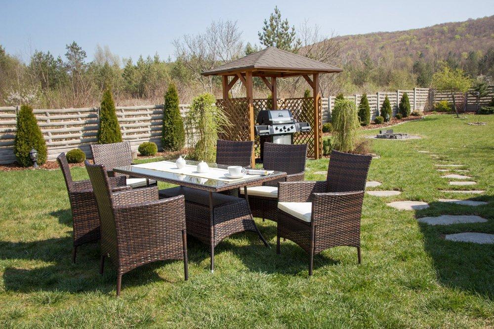 Gartenmöbel Gartengartnitur DiVolio Trapani 6 Stühle & Tisch Polyrattan Farbauswahl (Schwarz) kaufen