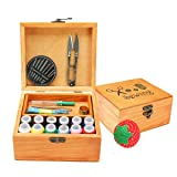 Mini Professional Wooden Sewing Basket Set with Wooden Sewing Box Premium Sewing Kit Accessories for Mother's Day Home Travel Emergency and Good Gift for Anyone (Color: Mini wood, Tamaño: 13.5L x 14.8W x 7.8H)