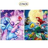 5D Full Drill Diamond Painting Kit, Hartop DIY Diamond Rhinestone Painting Kits for Adults and Beginner, Embroidery Arts Craft Home Office Decor, 12X16 Inch (2 Pack of Stitch Mermaid) (Color: 2 Pack of Stitch Mermaid)