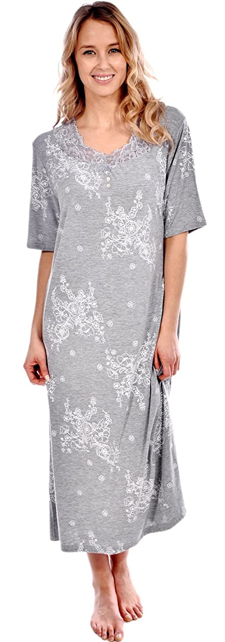 Patricia Women's Short Sleeve Floral Long Nightgown 0