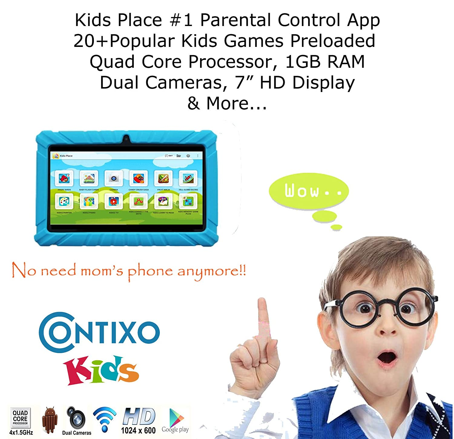 * Memorial Day Special * Contixo 7 Inch Quad Core Android 4.4 Kids Tablet, HD Display 1024x600, 1GB RAM, 8GB Storage, Dual Cameras, Wi-Fi, Kids Place App & Google Play Store Pre-installed, 2015 May Edition, Kid-Proof Case (Blue)