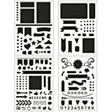 BULLET JOURNAL STENCIL SET 4 PACK - Banners, Dividers, Icons Fits Leuchtturm & Moleskine A5 Notebooks, Best Used with Huhuhero Fineliners & Sakura Micron Pens, 5 X 7 inches (Color: transparent)