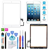 OmniRepairs Touch Screen Glass Digitizer Assembly OEM Replacement with Home Button Compatible for iPad Air 1st Generation with Adhesive Tape, Screen Protector and Repair Toolkit (White) (Color: iPad Air White)