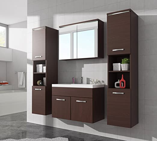 Bathroom cabinet Paso XL 80cm basin Wenge - Storage cabinet vanity unit sink furniture