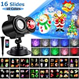 LED Christmas Projector Lights, Yokgrass 2-in-1 Ocean Wave Projector Light with 16 Slides Patterns 10 Colors Waterproof Outdoor Indoor Holiday for Halloween Xmas Birthday Party Landscape Decorations (Color: Black)