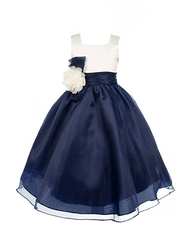 DressForLess Ivory Bodice and Organza Skirt Flower Girl Dress NAVY