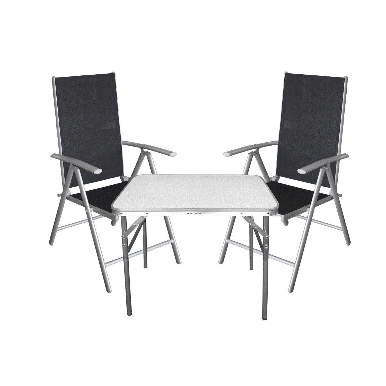3tlg. Campingmöbel Balkonmöbel Gartenmöbel Set Sitzgruppe Aluminium Campingtisch Klapptisch + Hochlehner Gartenstuhl mit 7-fach verstellbarer Rückenlehne jetzt kaufen