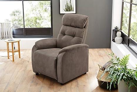 Fernsehsessel, Sessel, Relaxsessel, Liegefunktion, Verstellbar, Microfaser, braun, Antiklederoptik, Körperdruckverstellung
