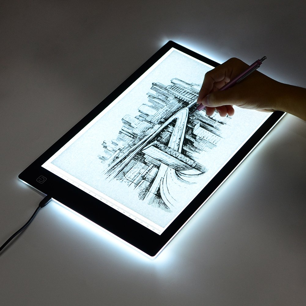 Tracing Light Box, A4 LED Artcraft Tracing Light Pad Light Box For Artists,Drawing, Sketching, Animation, 9.4x14 Inch Light Pad (A4-USB)