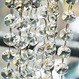 Crystal Beads for Chandelier Centerpieces 26.5-Ft Clear Glass Crystal Chandelier Beads Chain for Garland Wedding Home and DIY Craft Jewelry Decoration (26.5-Ft) (Tamaño: 26.5-Ft)