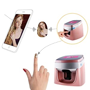 TUOSHI NP10 Nail Printer Machine - Professional 3D Digital Nail Art Printer - Support WiFi/DIY/USB (Pink) (Color: Pink, Tamaño: 26.5*27*30cm)