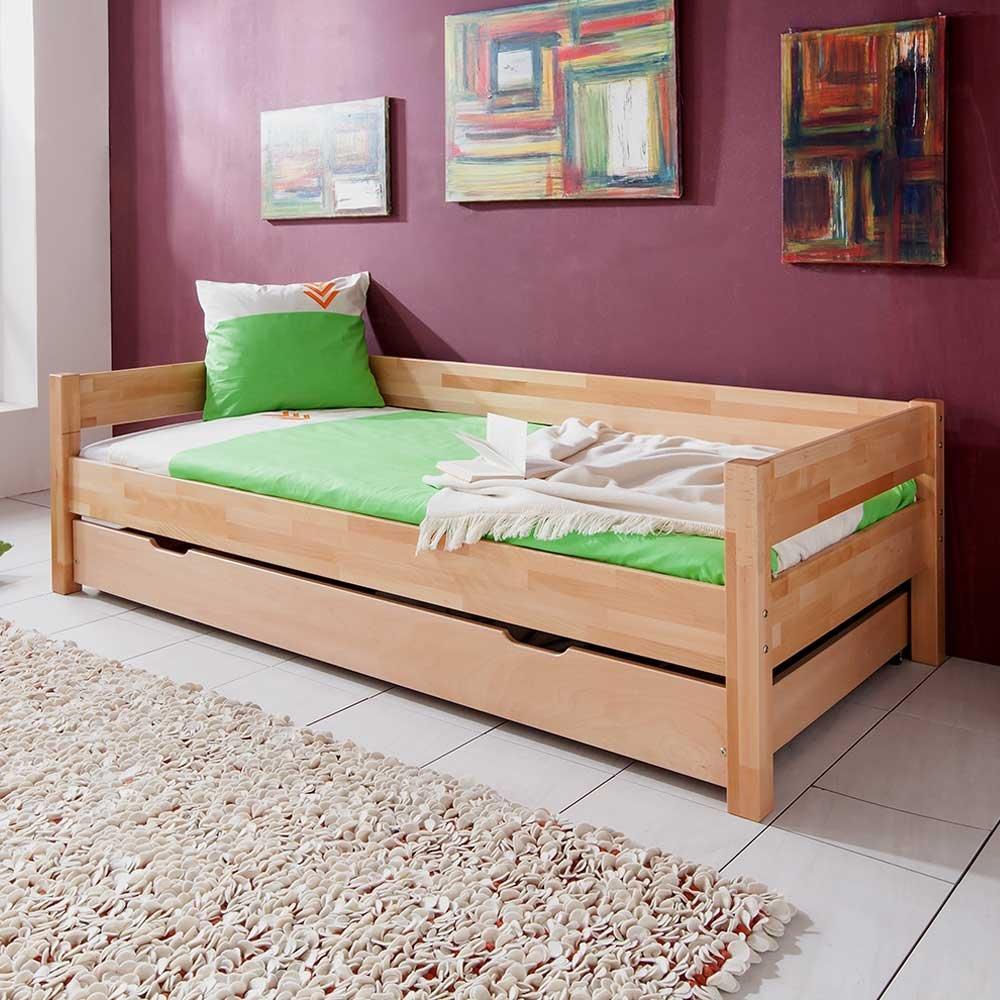 Kinderbett aus Buche Massivholz Gästebett Bettkasten Nein Pharao24