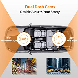 Dual Dash Cam Front and Rear, 1080p HD Car DVR Dashboard Camera Recorder with Night Vision, 4 inch IPS Touch Screen, 170 Super Wide Angle, G Sensor, Parking Monitor, Motion Detection, WDR