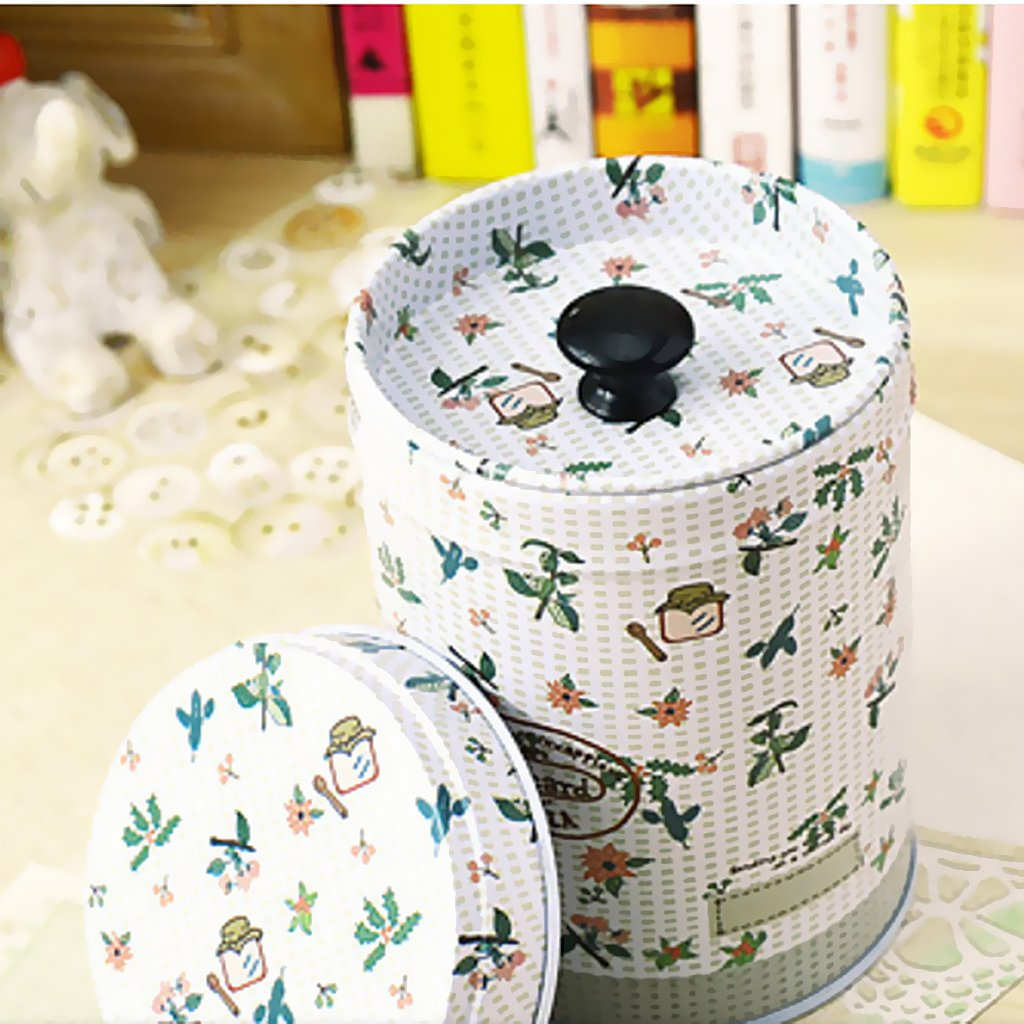 Cylinder Double Cover Tea Canister Container Food Caddy Storage Jars Tin Box - Light Grey, 9x6.5cm 2