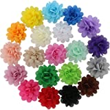 QingHan 20 Colors Baby Girl Chiffon Flowers Lined Hair Bows Clips for Teens Girls Babies Toddlers (Color: Multi-colors, Tamaño: 2.4 inches)