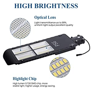 300W Solar Street Lights Outdoor Lamp, 480 LEDs 12000 Lumens, with Remote Control,Light Control, Dusk to Dawn Security Led Flood Light for Yard, Garden, Street, Basketball Court (Color: Black, Tamaño: 300W)