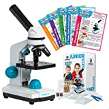JuniorScope Microscope for Kids - 3 Magnification Levels - 40x, 100x, 400x - Includes Slides, Science Experiments & Accessories - Portable Student Microscope