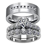 LOVERSRING Couple Ring Bridal Set His Hers White Gold Plated CZ Stainless Steel Wedding Ring Band Set (Color: White)