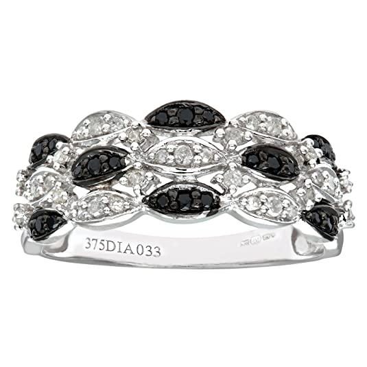 Naava 9ct White Gold Black Diamond Marquise 3 Row Eternity Ring