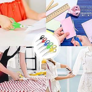 Scissors, Taotree 8 Multipurpose Scissors Bulk Value Pack of 5, Soft Comfort-Grip Handles Stainless Steel Sharp Scissors for School Office Home
