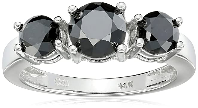 White Gold 3-Stone Black Diamond Ring