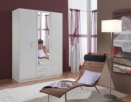 Dreams4Home Drehturenschrank 'Isa VI', Schlafzimmer, Schrank, weiß, Kleiderschrank, 1 Spiegel, Spiegelschrank