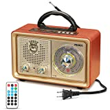 Retro AM FM Portable Radio, J-110 Vintage Bluetooth Speaker with 3-Way Power Sources, Big Frequency Scale, Enhanced Bass, Remote Control, AUX TF Card USB Disk MP3 Player, by PRUNUS(Gold) (Color: Gold)