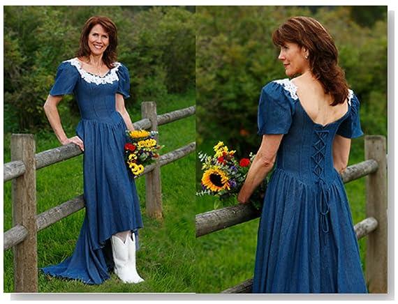 Exclusive Denim Corset Wedding Dress with Train