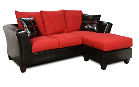 Chelsea Home Furniture Peyton Sofa Chaise, Denver Black/Victory Cardinal