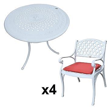Lazy Susan - ANNA 80 cm Runder Gartentisch mit 4 Stuhlen - Gartenmöbel Set aus Metall, Weiß (KATE Stuhle, Terracotta Kissen)
