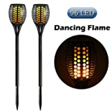 Cinoton Solar Light,Path Torches Dancing Flame Lighting 96 LED Dusk to Dawn Flickering Torches Outdoor Waterproof garden decorations (2) (Color: Black, Tamaño: Cylindrical tiki torches)