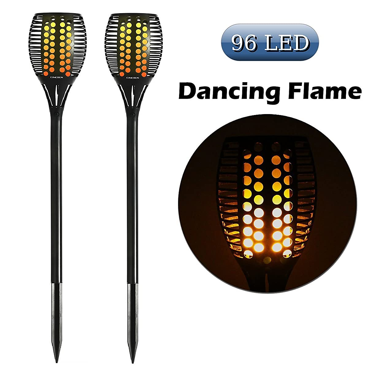 Cinoton Solar Light Path Torches Dancing Flame Lighting 96
