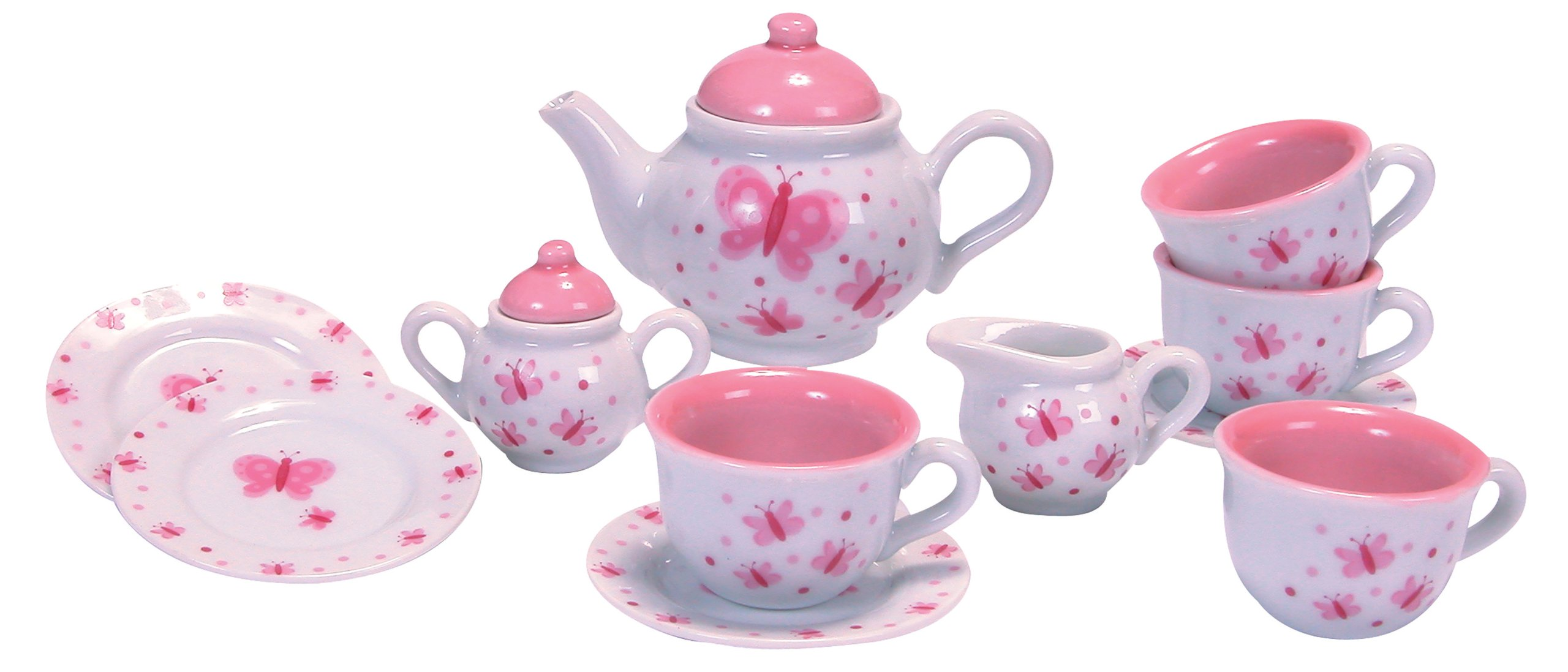 schylling butterfly porcelain tea set kids girls pretend play toy new ebay. Black Bedroom Furniture Sets. Home Design Ideas