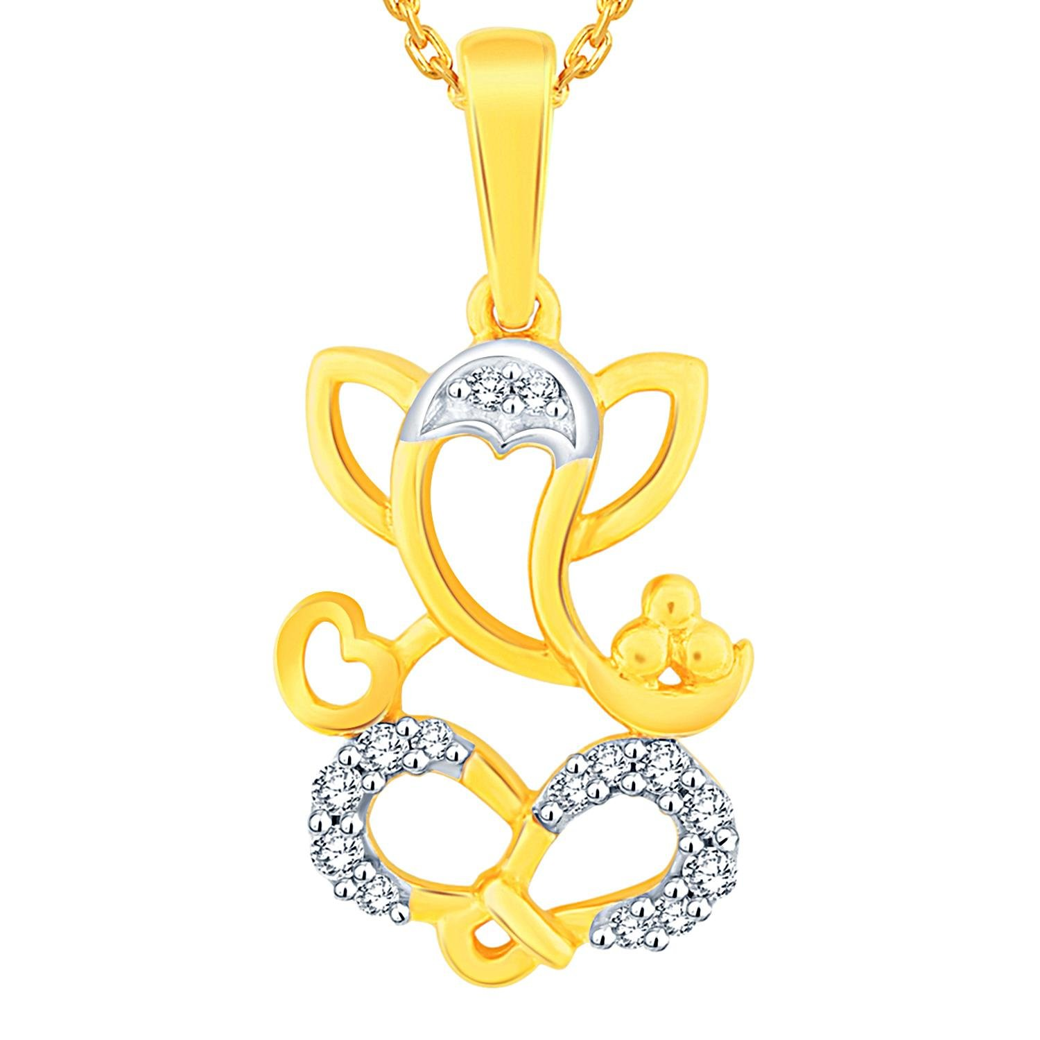 Season Of Love!! Flat 35% Off On Lumineux Jewelry By Amazon |  Season of love Lumineux Yellow Gold and Diamond Pendant for Women @ Rs.6,273