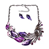 iNewcow Tibetan Silver Purple Peacock Crystal Earrings Necklace Set For Wedding Party